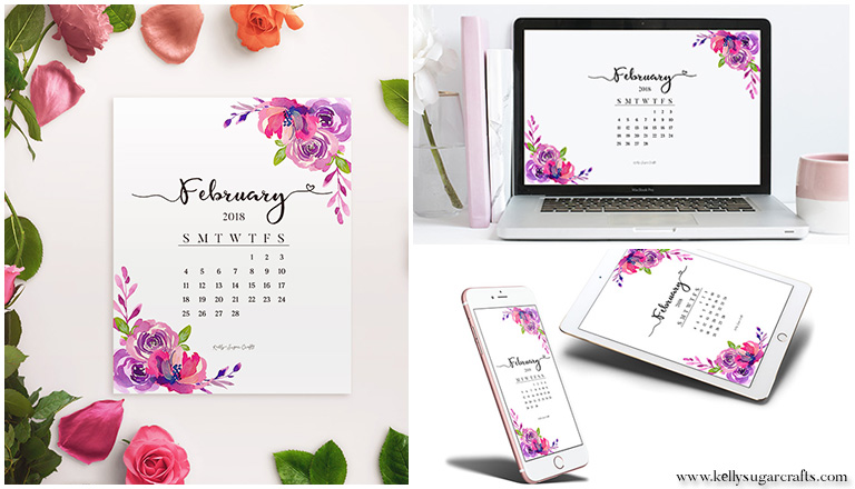 February 2018 Calendar Wallpapers Printable Kelly